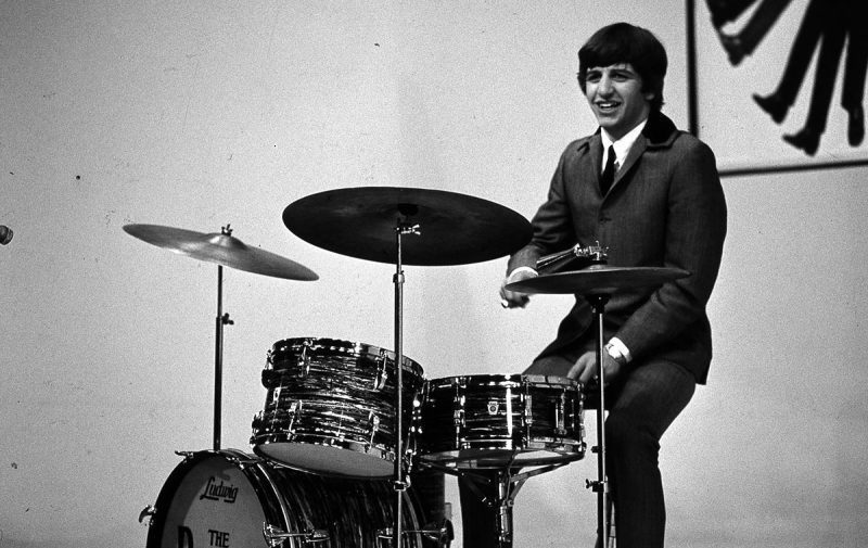 Photo of Ringo STARR and BEATLES; Ringo Starr performing onstage, on the set of 'A Hard Day's Night' at the Scala Theatre, playing Ludwig drum kit, drums (Ulf Kruger OHG/Redferns)