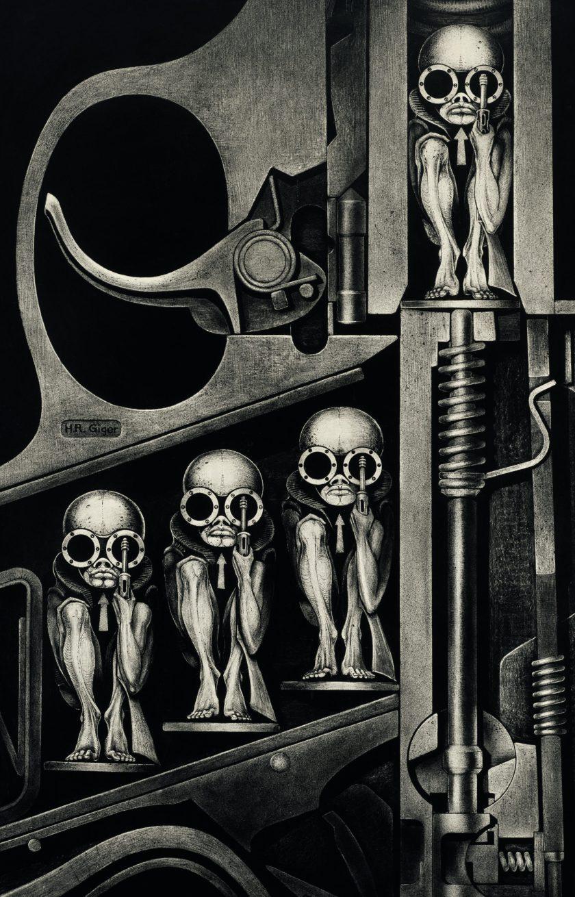 Gebärmaschine, 1967, India ink on Transcop on paper on wood (Carmen Giger/HR Giger Estate)