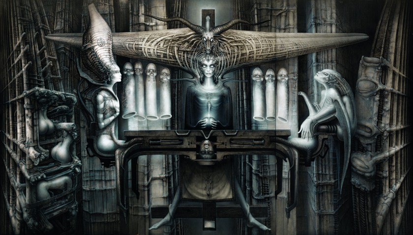 The Spell II , 1974 (detail), acrylic and India ink on paper on wood (Carmen Giger/HR Giger Estate)