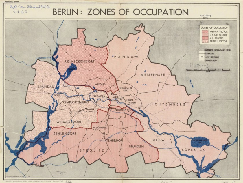 Map of Post-War Berlin in 1945, showing the divided sections of the city claimed by Allied powers. (Central Intelligence Agency)