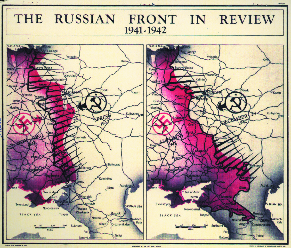 Map of the Nazi retreat from Russia after it failed to take Moscow from the Soviets in the winter of 1941 and 1942, a turning point in the war. (Central Intelligence Agency)