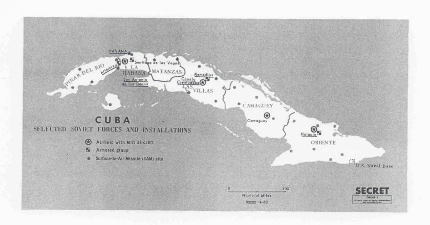 Map showing Soviet military installations on Cuba in 1963. (Central Intelligence Agency)