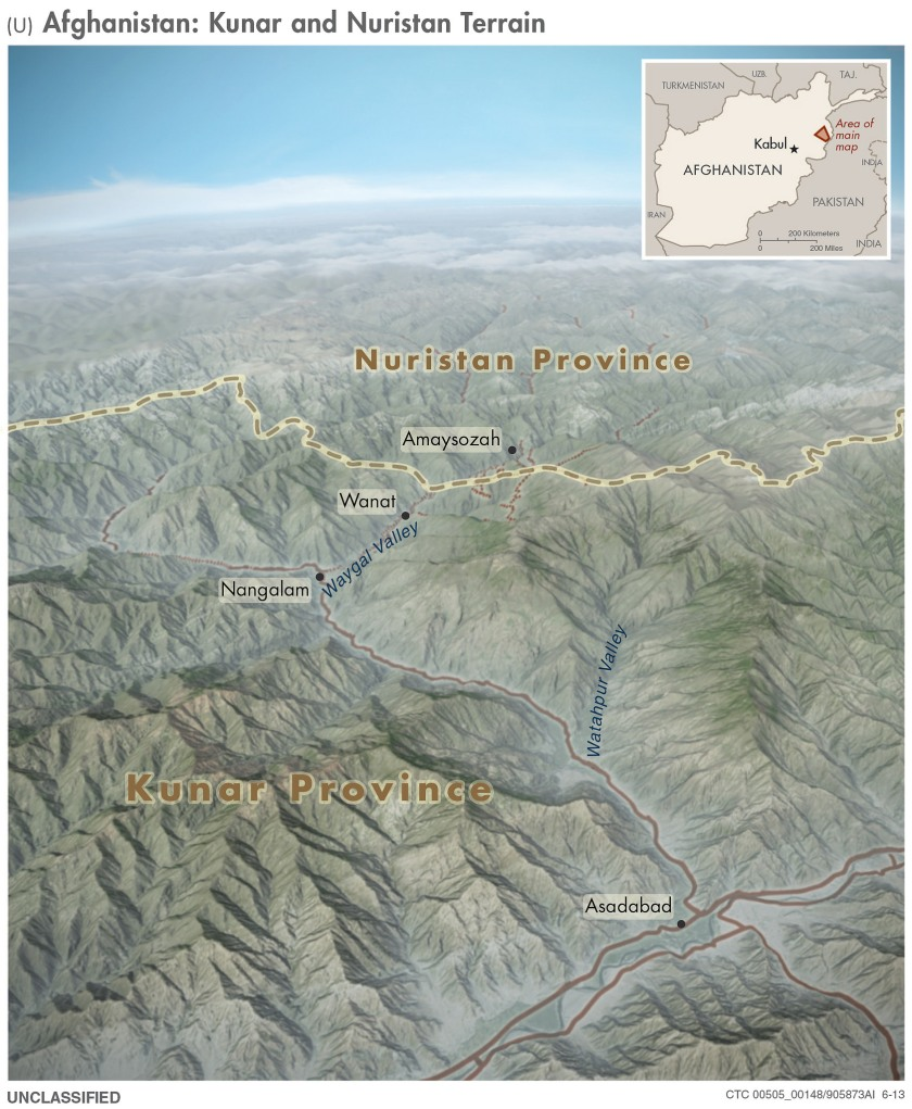 A 3D Topographical Map from 2013 of the Afghanistan-Pakistan border region. (Central Intelligence Agency)