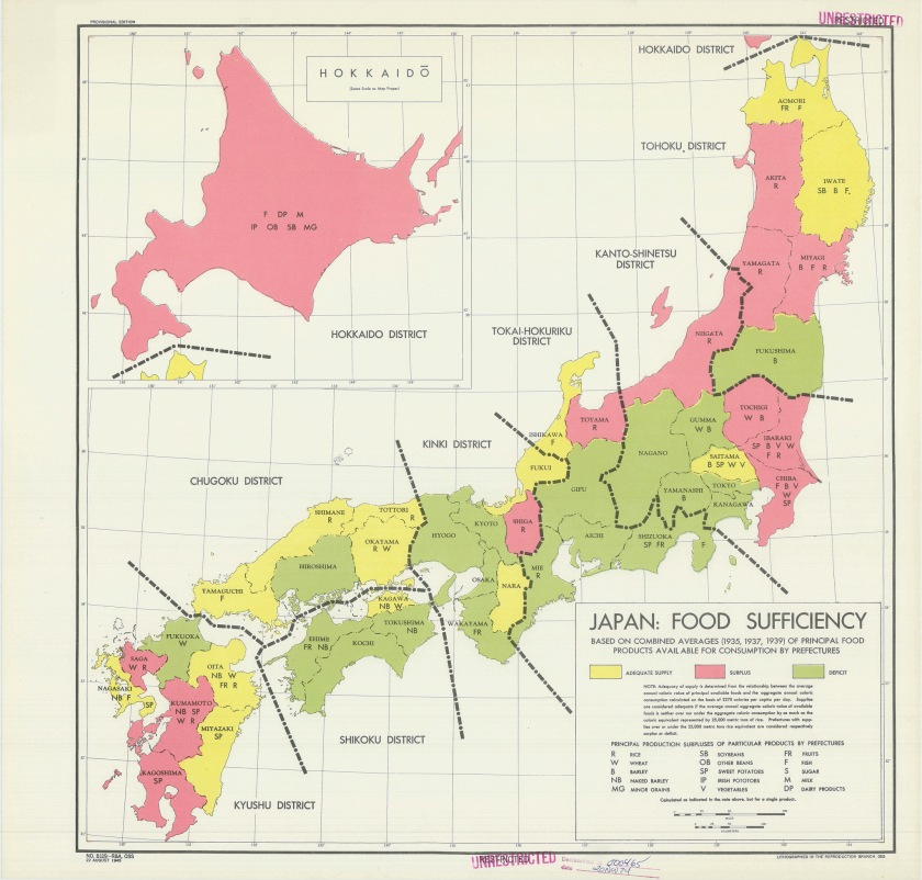 The distribution of food supplies in Japan shortly before its surrender at the end of World War Two. (Central Intelligence Agency)