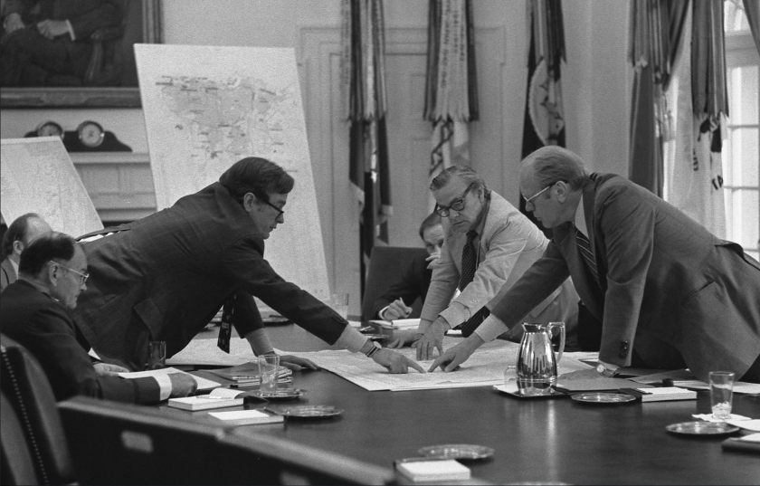 Then-Director of Central Intelligence George H.W. Bush briefs President Ford on Beirut, Lebanon.