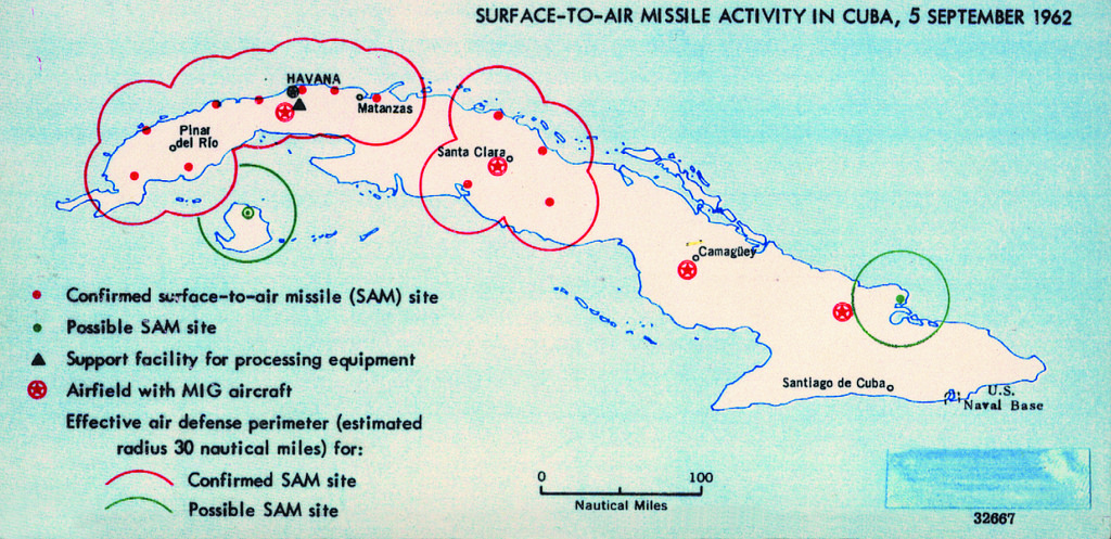 One of the many maps the United States relied on to de-escalate the Cuban Missile Crisis in 1962. (Central Intelligence Agency)