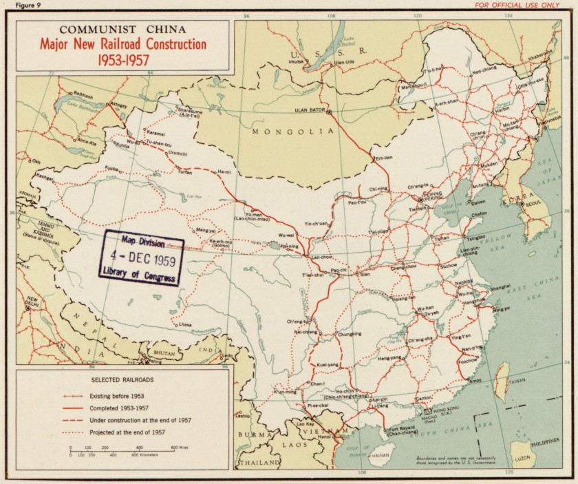 A 1957 map depicting Chinese railroad development form 1953-1957.