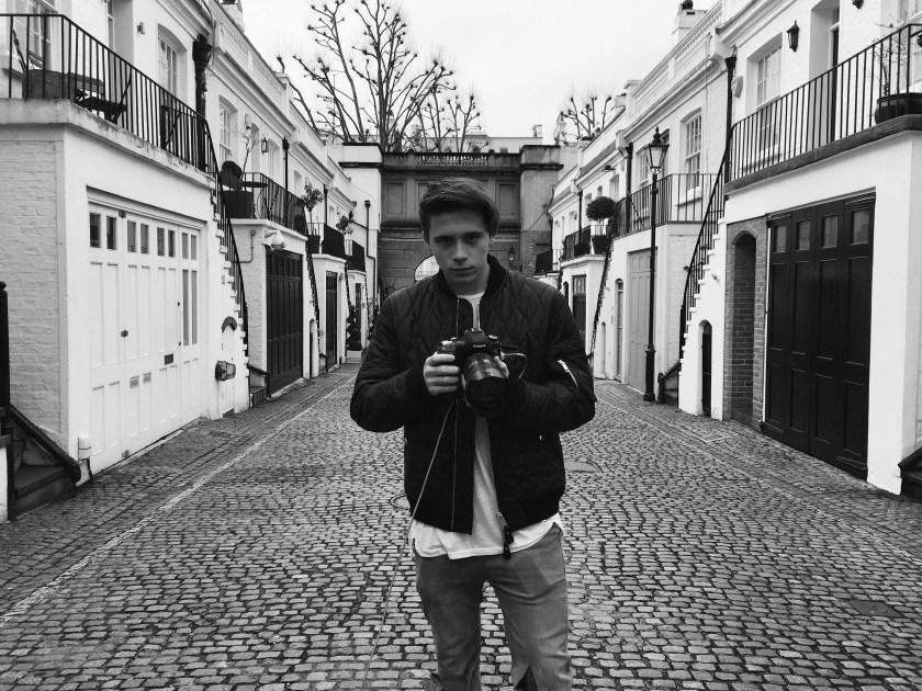 Brooklyn Beckham on set shooting for Burberry Brit Fragrances (Burberry)