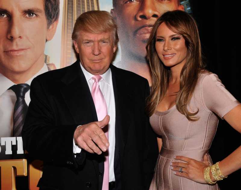 """Donald Trump with his wife Malania (they filmed the movie in his building) at the Premiere of the movie """"Tower Heist' at the Ziegfeld Theater. (Photo By: Richard Corkery/NY Daily News via Getty Images)"""
