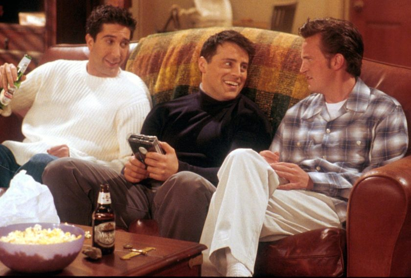 "From left to right, David Schwimmer, as Ross, Matt LeBlanc, as Joey, and Matthew Perry as Chandler act in a scene from the television comedy ""Friends"" during the seventh season of the show. (NBC/Newsmakers)"