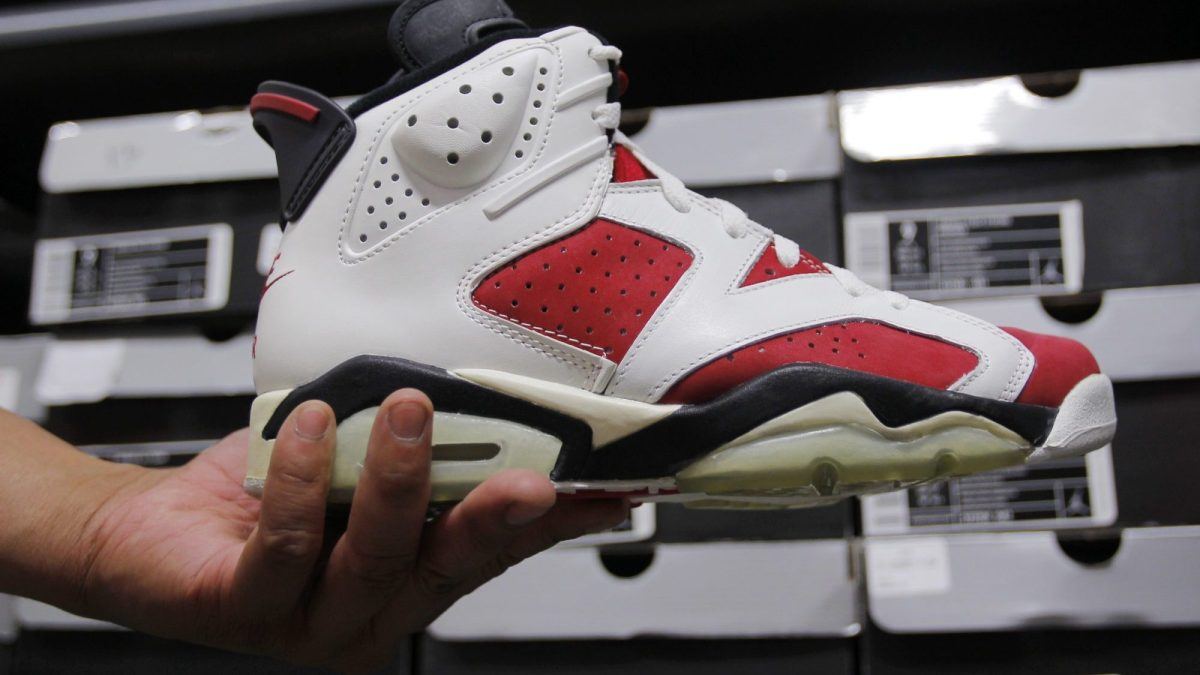 "A 1991 Air Jordan seen inside ""the Vault"" in Brighton, Mass., June 3, 2013. (Jessica Rinaldi for The Boston Globe via Getty Images)"