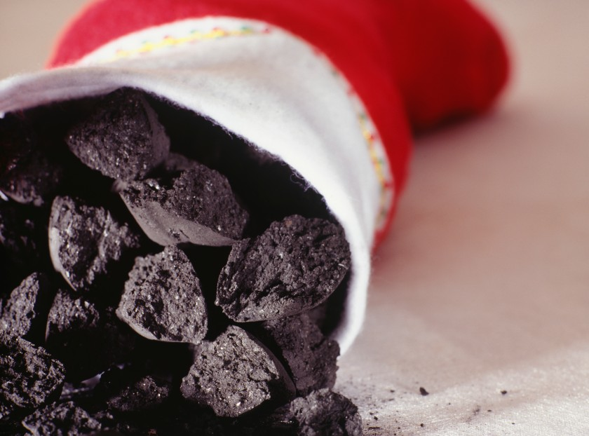 Stocking filled with coal (Getty Images)
