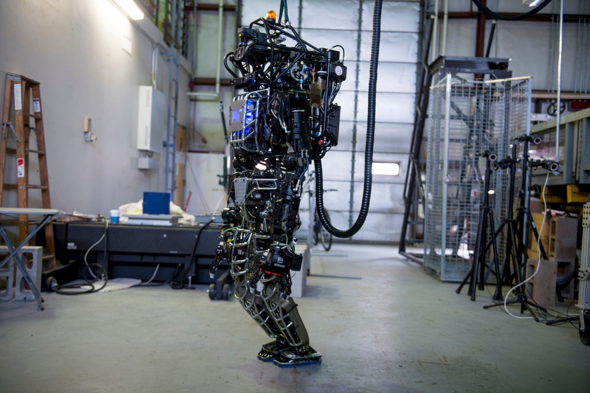 The Boston Dynamics funded Atlas robot is a part of the DARPA Robotics Challenge program. (Ann Hermes/The Christian Science Monitor via Getty Images)