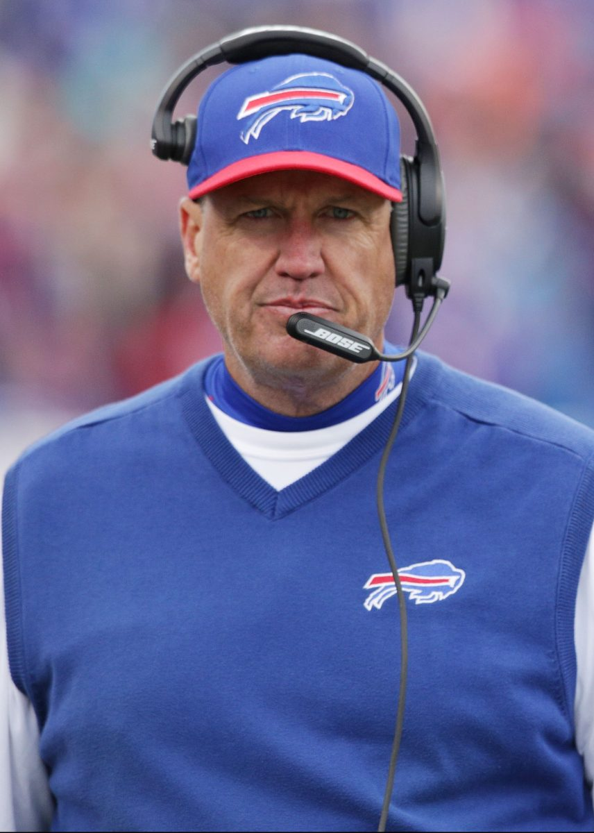 Head Coach Rex Ryan of the Buffalo Bills walks the sideline during the second half of a game against the Cincinnati Bengals at Ralph Wilson Stadium on October 18, 2015 in Orchard Park, New York.  (Brett Carlsen/Getty Images)