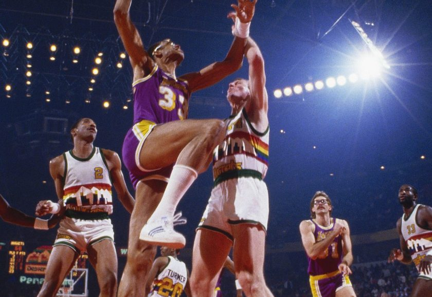 Los Angeles Lakers' center Kareem Abdul-Jabbar #33 jumps for a layup during a game against the Denver Nuggets circa the 1980's in Denver, Colorado. (Focus on Sport/Getty Images)