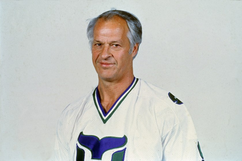 Gordie Howe #9 of the Hartford Whalers poses for a portrait in January, 1980 in Hartford, Connecticut. (Bruce Bennett Studios/Getty Images)