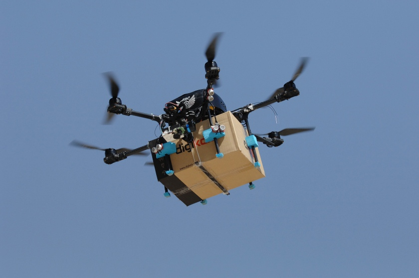 """An Iranian drone built by the Amir Kabir University of Technology team takes a flight test to deliver parcels in a competition created by Iran's largest online retailer, Digikala, at the Pardis Technology Park east of Tehran, Iran, on September 17, 2016. Often called """"Iran's Amazon,"""" Digikala is one of Iran's fastest growing companies and, like Amazon, DHL and other global couriers, is exploring ways to speed delivery of parcels using drones. (Scott Peterson/Getty Images)"""