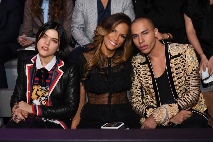 Soko, Veronica Webb and Olivier Rousteing attend the 2016 Victoria's Secret Fashion Show on November 30, 2016 in Paris, France. (Dimitrios Kambouris/Getty Images for Victoria's Secret)