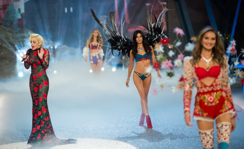 fea648a59f1 Lady Gaga performs as Lily Aldridge walks the runway during the annual  Victoria s Secret fashion show