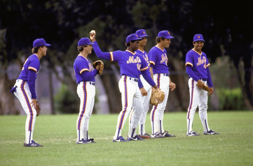 New York Mets pitcher Dwight Gooden throwing ball with other Mets pitchers during spring training. (Mickey Pfleger/The LIFE Images Collection/Getty Images)