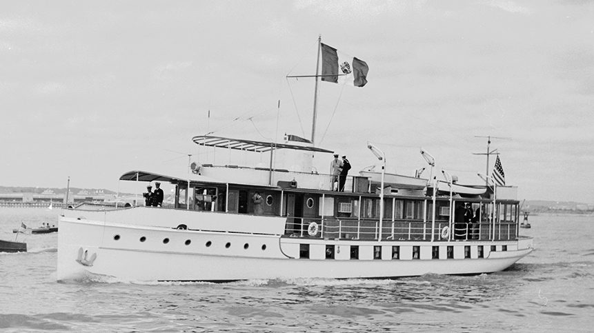 View of the United States presidential yacht, the USS Sequoia, on the Potomac River during a state visit by the President of Mexico Adolfo Lopez Mateos, New York, October 1959. (Photo by Al Fenn/The LIFE Picture Collection/Getty Images)
