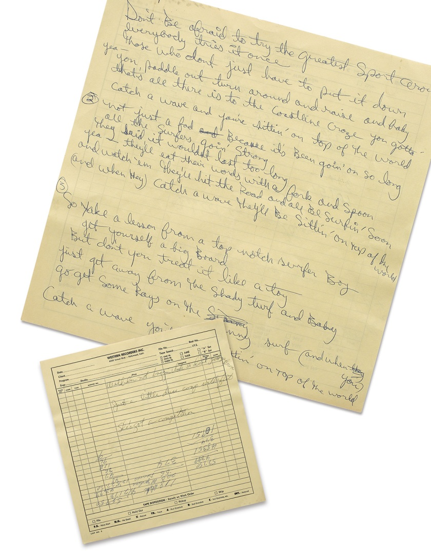 Brian Wilson Manuscript for Two Beach Boys Songs