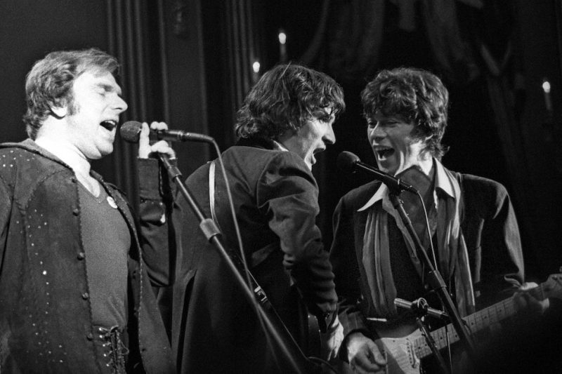 SAN FRANCISCO - NOVEMBER 1976: Van Morrison, with Rick Danko and Robbie Robertson of The Band, performs during The Last Waltz at Winterland on November 25, 1976 in San Francisco, California. (Photo by Ed Perlstein/Redferns/Getty Images)