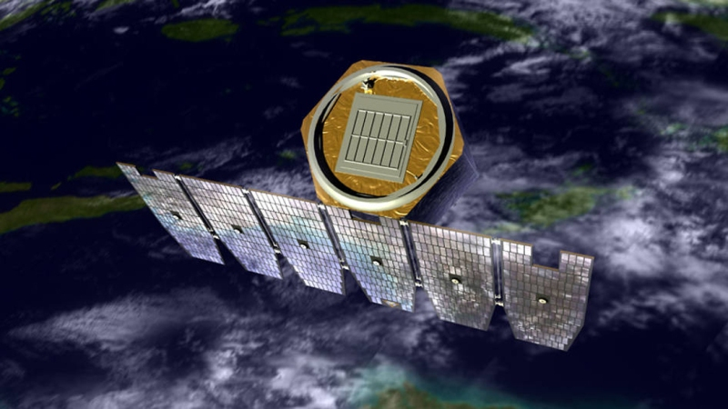 An artist's rendition of the AIM spacecraft in orbit above Earth. (NASA)