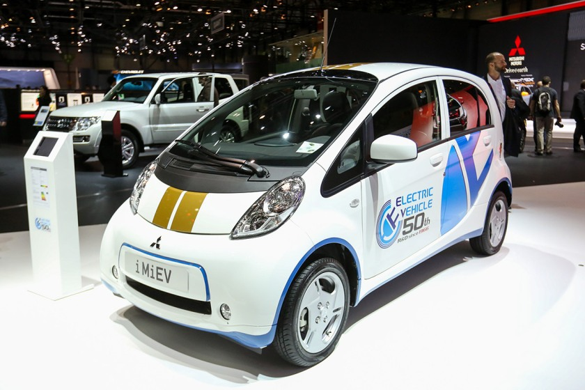 An i-MiEV electric automobile, manufactured by Mitsubishi Motors Corp., sits on display on the second day of the 86th Geneva International Motor Show in Geneva, Switzerland on Wednesday, March 2, 2016. The show opens to the public on March 3, and will showcase the latest models from the world's top automakers. Photographer: Chris Ratcliffe/Bloomberg via Getty Images