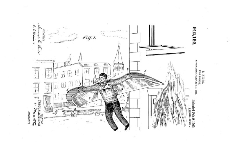 Pasquale Nigro's 1909 patent for a winged fire escape invention (GOOGLE PATENT US 912152 A)