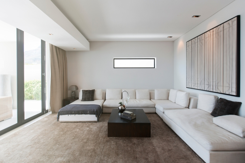 View of modern living room with sofas, coffee table and abstract painting (Astronaut Images)
