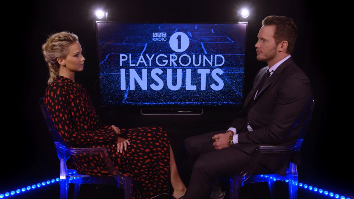 'Passengers' Co-Stars Jennifer Lawrence and Chris Pratt Stop by BBC One for a Game of 'Playground Insults'