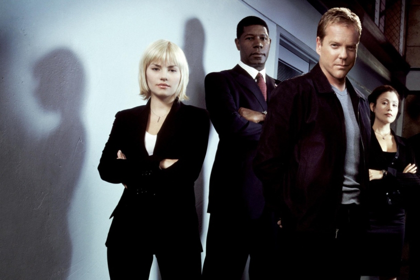 Clockwise from right: Kiefer Sutherland, Elisha Cuthbert, and Dennis Haysbert starred in the original 24. (Anthony Mandler/FOX)