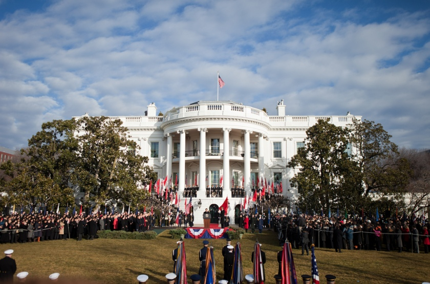 President Hu Jintao of China makes a statement on the South Lawn of the White House, Jan. 19, 2011. (Official White House Photo by Samantha Appleton)