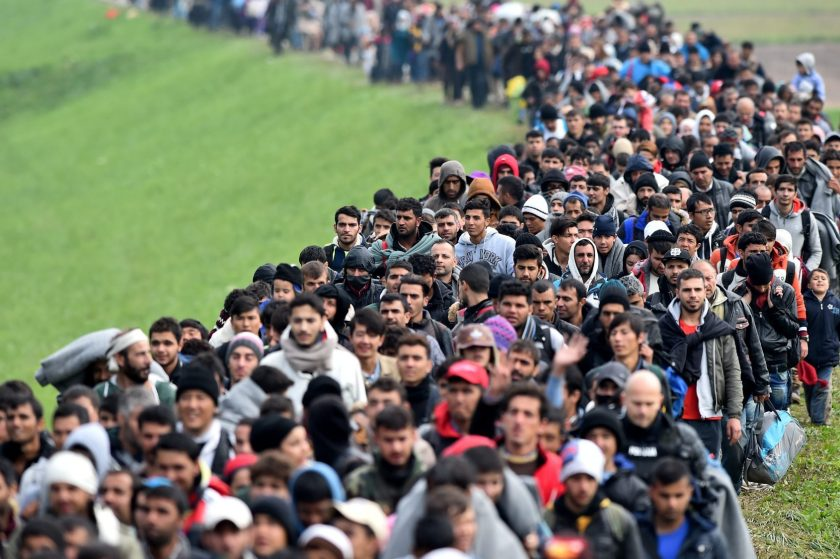 Migrants are escorted through fields by police as they are walked from the village of Rigonce to Brezice refugee camp on October 23, 2015 in Rigonce,, Slovenia. Thousands of migrants marched across the border between Croatia into Slovenia as authorities intensify their efforts to attempt to cope with Europe's largest migration of people since World War II. (Jeff J Mitchell/Getty Images)