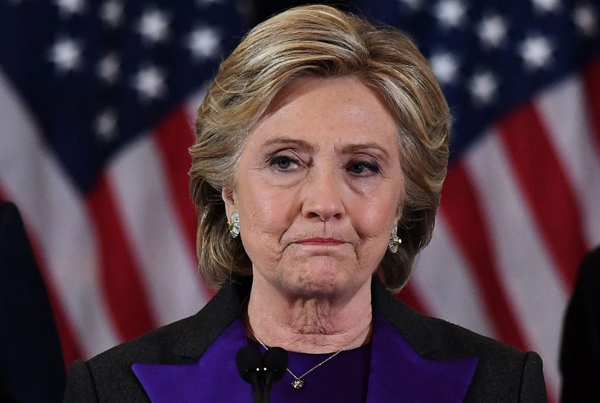 US Democratic presidential candidate Hillary Clinton makes a concession speech after being defeated by Republican president-elect Donald Trump in New York on November 9, 2016. (Jewel Samad/AFP/Getty Images)
