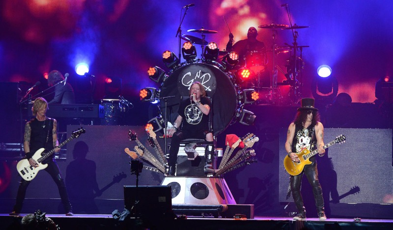 INDIO, CA - APRIL 16: Duff McKagan, Axl Rose and Slash of Guns N' Roses performs onstage during day 2 of the 2016 Coachella Valley Music & Arts Festival Weekend 1 at the Empire Polo Club on April 16, 2016 in Indio, California. (Photo by Kevin Mazur/Getty Images for Coachella)