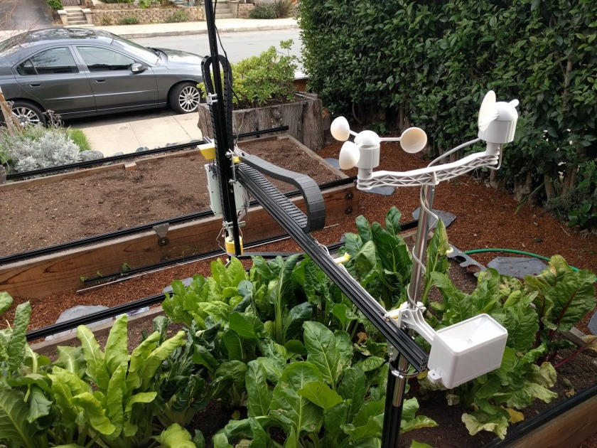 Genesis outfitted with a weather monitor for more accurate farming. (Courtesy Farmbot)