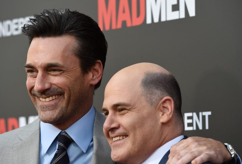 """LOS ANGELES, CA - MAY 17: Actor Jon Hamm (L) and executive producer Matthew Weiner arrive at the Film Independent at LACMA special screening of the final episode of """"Mad Men"""" at The Ace Hotel Theater on May 17, 2015 in Los Angeles, California. (Photo by Amanda Edwards/WireImage)"""