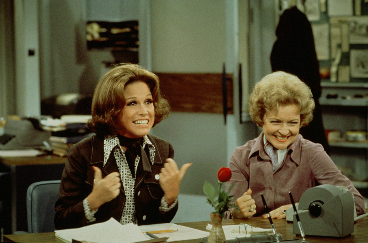 The Mary Tyler Moore Show:  Mary Tyler Moore as Mary Richards, and Betty White as Sue Ann Nivens   (CBS Photo Archive/Getty Images)