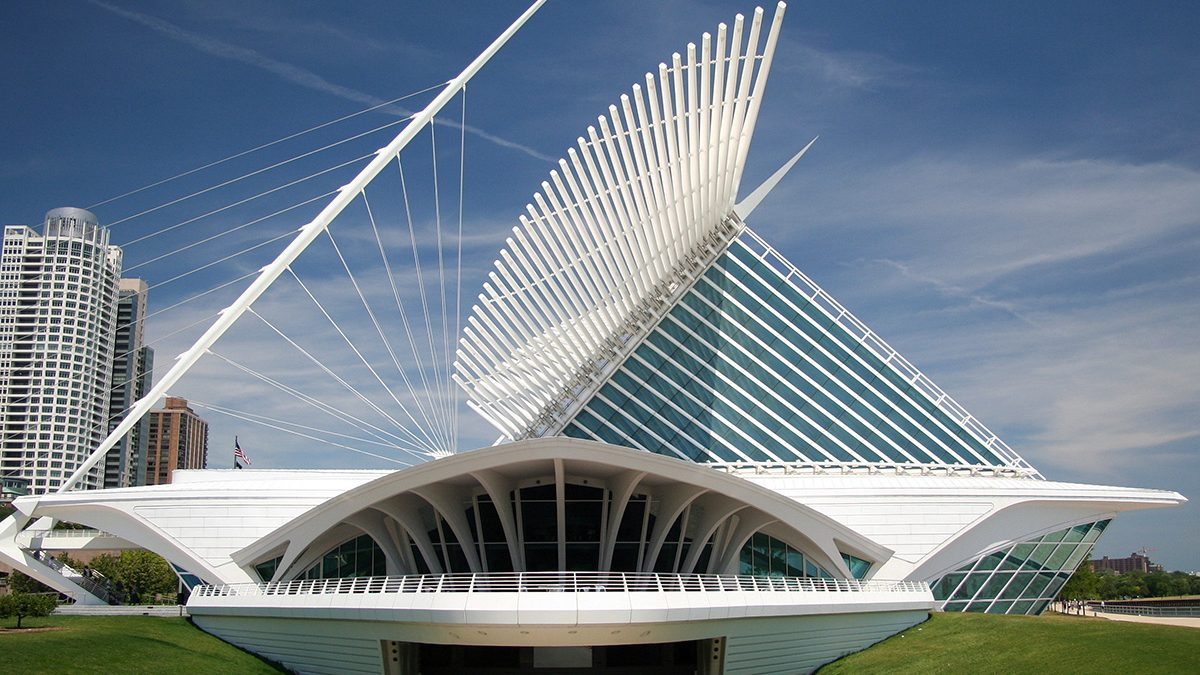 Modern architecture museum building in Milwaukee, Wisconsin. (Getty Images)