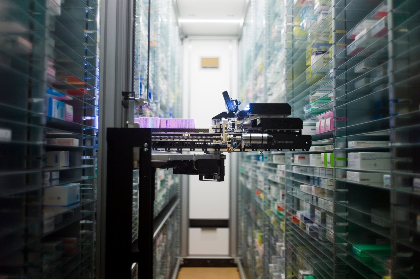 A picture shows a robot which grabs medicines in the pharmacy of the Argenteuil hospital, in a Paris suburb, on July 23, 2013. (Fred Dufour/AFP/Getty Images)
