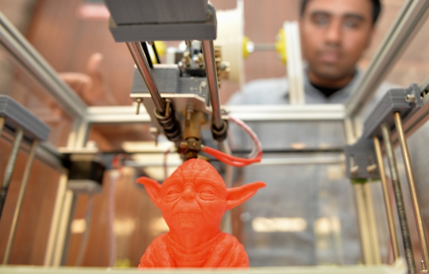 A bust of Star Wars film character Yoda is seen printed on a portable 3D printer during the Pravega 2014 science and technology festival at the Indian Institute of Science (IISc) in Bangalore on January 31, 2014. The inaugural event, aimed at celebrating science and innvation with fun, will be held annually. (Manjunath Kiran/AFP/Getty Images)