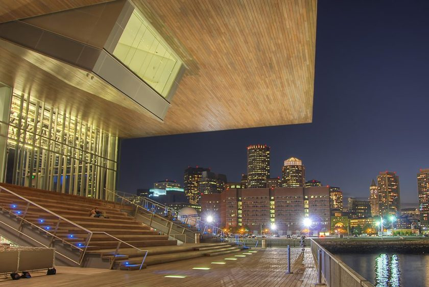 Ying Yang - Boston's Institute of Contemporary Art set against the lights of the city. (Shutterstock)