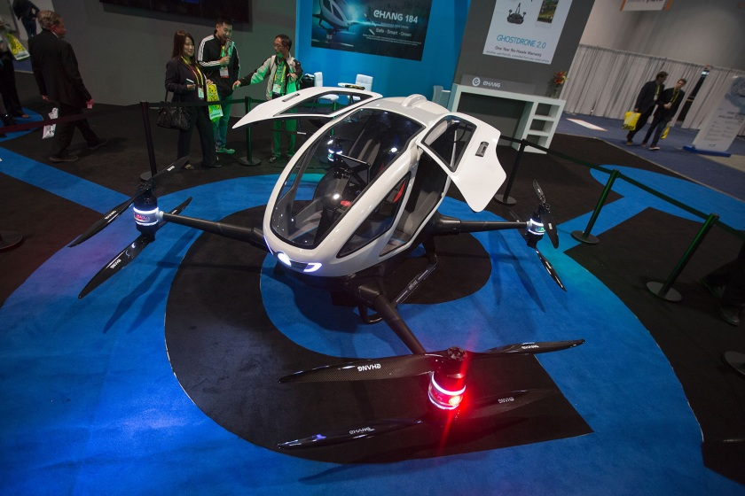 An Ehang 184 autonomous personal helicopter is displayed during the 2017 Consumer Electronic Show (CES) in Las Vegas, Nevada, January 6, 2017. (David McNew/AFP/Getty Images)