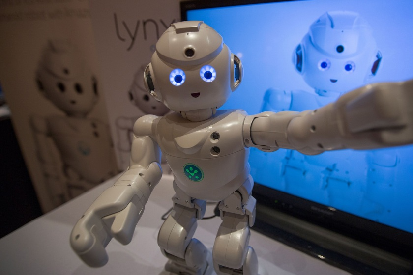 A Lynx robot toy by UBTECH Robotics dances at ShowStoppers during the 2017 Consumer Electronic Show (CES) in Las Vegas, Nevada on January 5, 2017. (David McNew/AFP/Getty Images)
