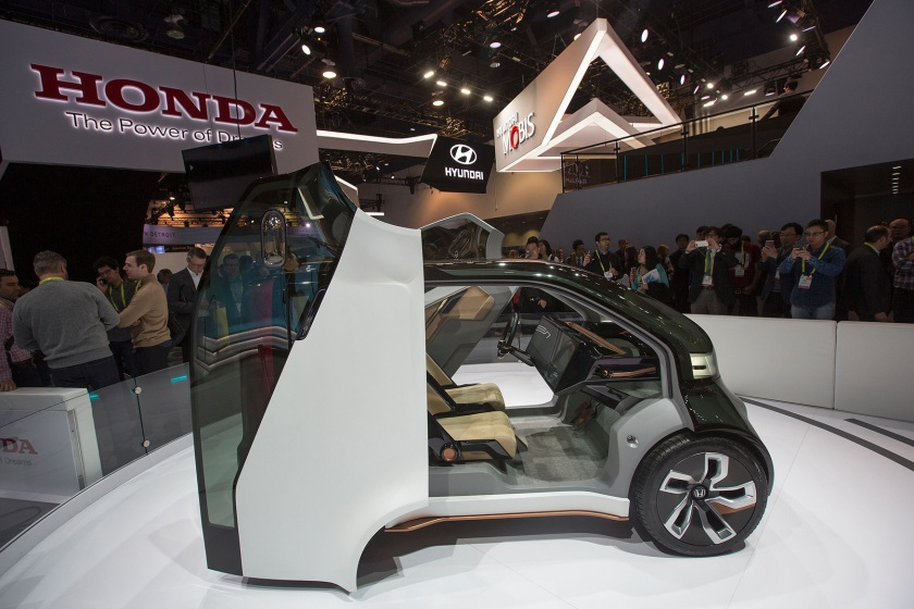 The new Honda NeuV concept vehicle is displayed during CES at the Las Vegas Convention Center in Las Vegas, Nevada, January 5, 2017. (David McNew/AFP/Getty Images)