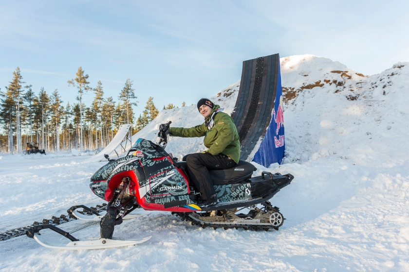 Daniel Bodin posing for a portrait before completing the worlds first double backflip with a snowmobile. (Richard Ström/Red Bull Content Pool)