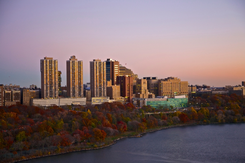 Columbia University Medical Center, seen at dusk from above Hudson River. (Getty Images)