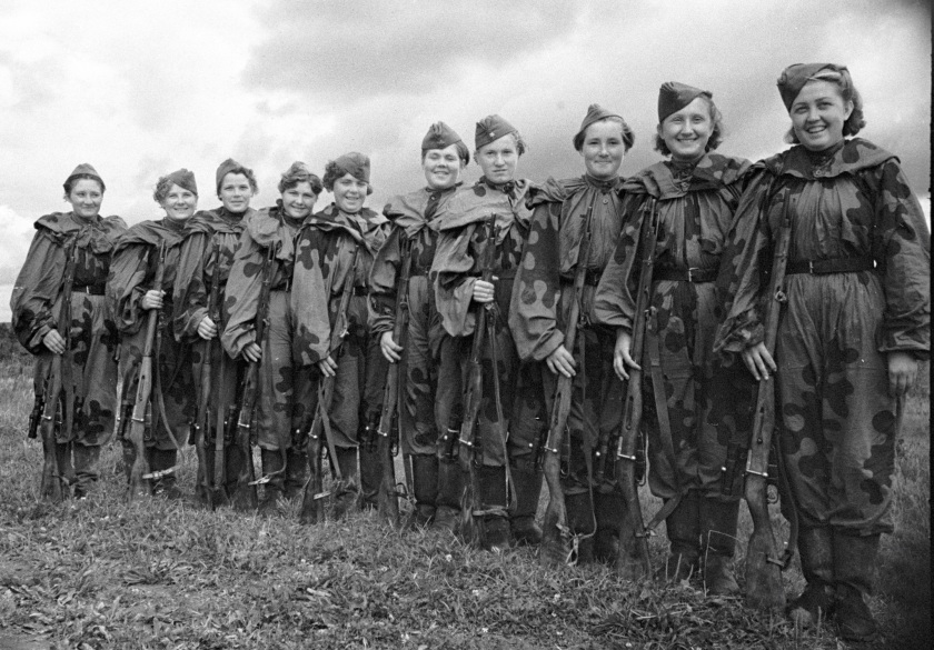 The Red Army Soviet female snipers gathered before leaving to the front in 1943. (Krasutskiy/AFP/Getty Images)